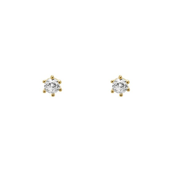 Gold Plated White Zirconia Nora Stud Earrings
