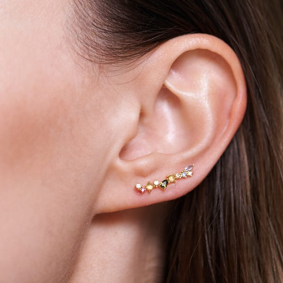 Gold Plated Multi Stone Euphoria Climber Earrings
