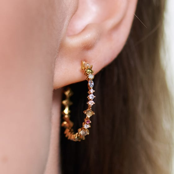 Gold Plated Multi Stone Halo Hoop Earrings