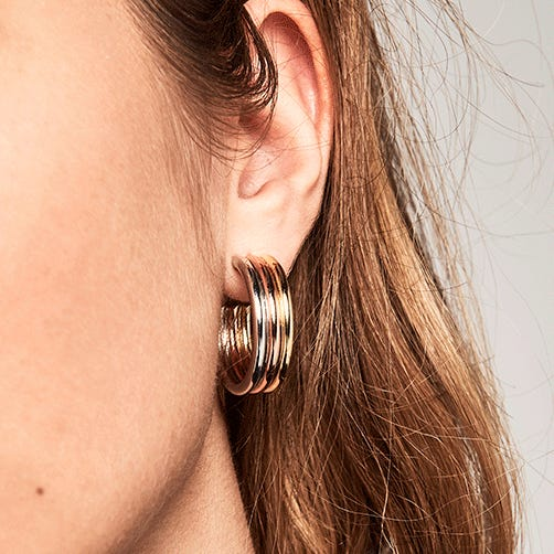 Gold Plated Pure Supreme Trilogy Hoop Earrings