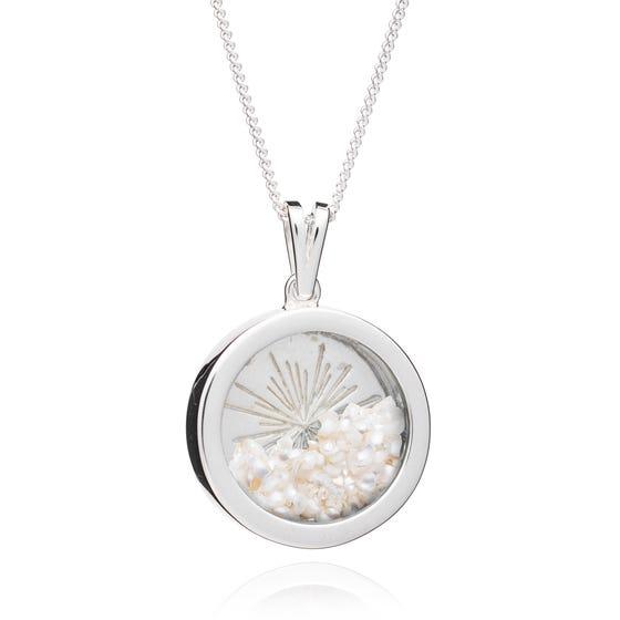 Silver Pearl June Birthstone Sunburst Amulet Necklace