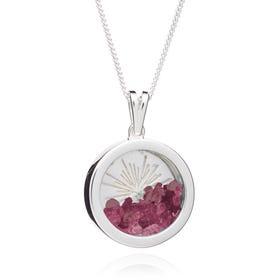 Silver Ruby July Birthstone Sunburst Amulet Necklace
