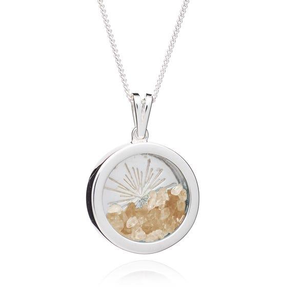 Silver Citrine November Birthstone Sunburst Amulet Necklace