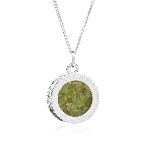 Silver Peridot August Birthstone Amulet Necklace