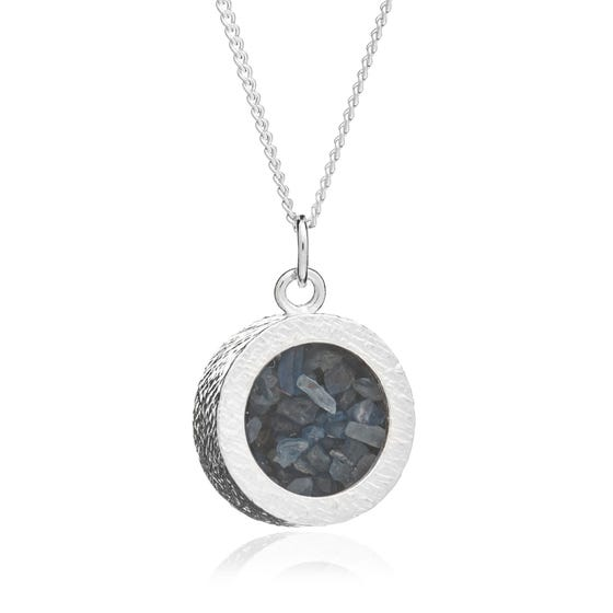 Silver Sapphire September Birthstone Amulet Necklace