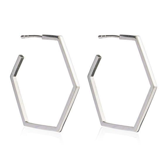 Silver Large Hexagon Hoop Earrings