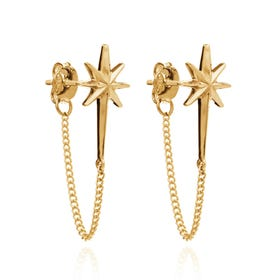 Gold Plated Rockstar Chain Earrings