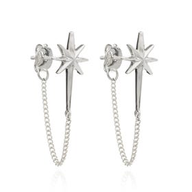 Silver Rockstar Chain Earrings