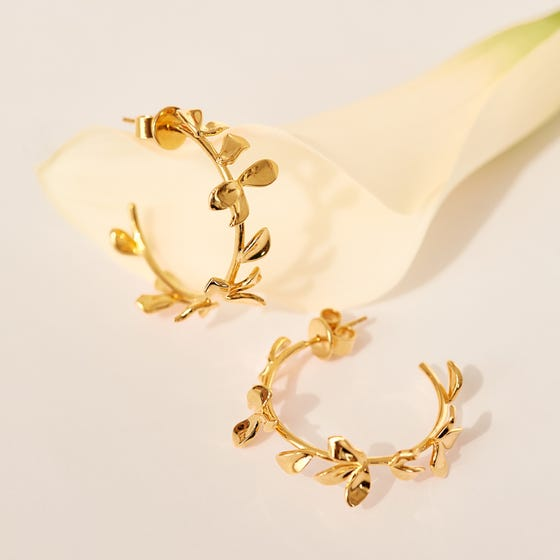 Gold Plated Lily Flower Hoop Earrings