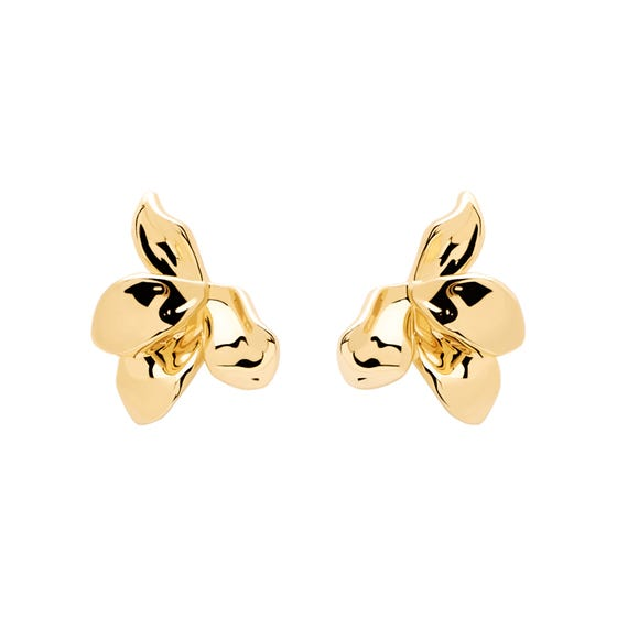 Gold Plated Narcise Flower Stud Earrings