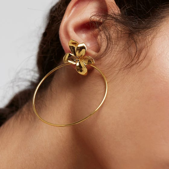 Gold Plated Blossom Flower Hoop Earrings