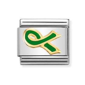 18ct Gold and Green Ribbon Classic Charm