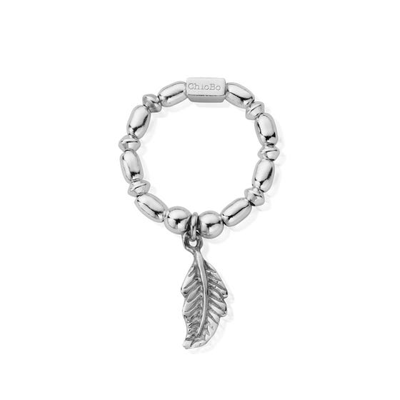 Silver Mini Rice Feather Ring