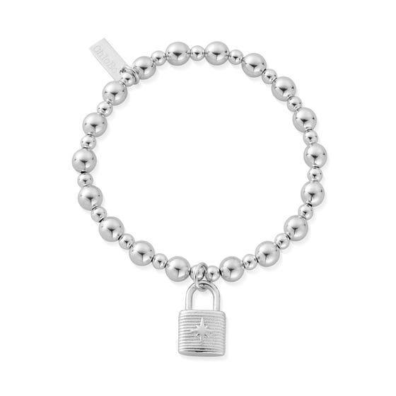 Silver Mini Small Ball Padlock Bracelet