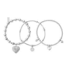 Silver Compassion Set of 3 Bracelets