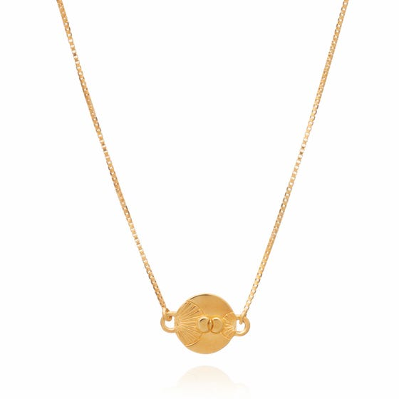 Gold Plated Luminary Art Coin Necklace