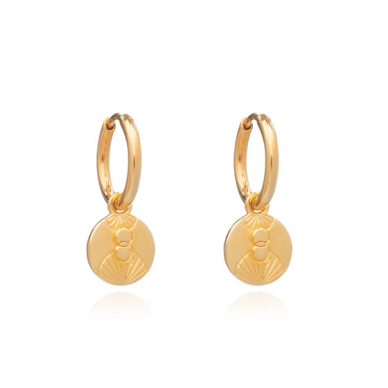 Gold Plated Luminary Art Coin Huggie Hoops