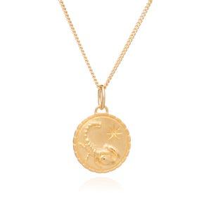 Gold Plated Scorpio Zodiac Art Coin Necklace