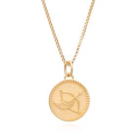 Gold Plated Sagittarius Zodiac Art Coin Necklace