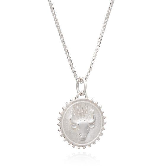 Silver Taurus Zodiac Art Coin Necklace