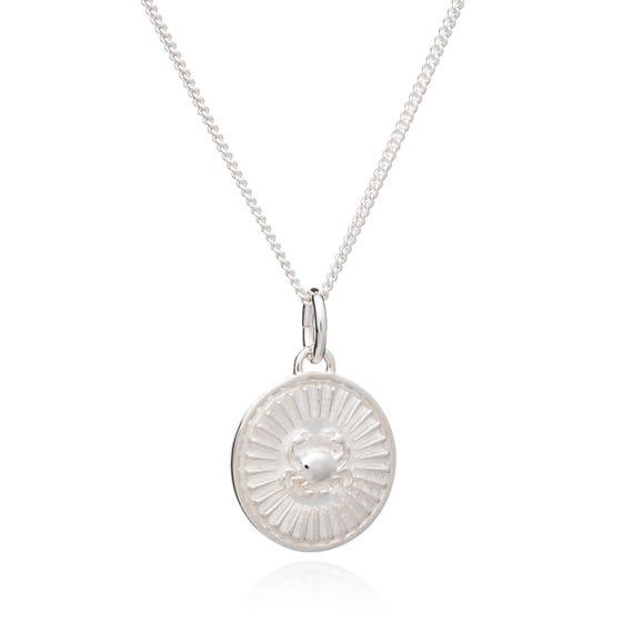 Silver Cancer Zodiac Art Coin Necklace