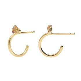 Gold Plated Libellule Hoop Earrings