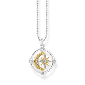 Silver & Gold Plated Movable Moon & Star Necklace