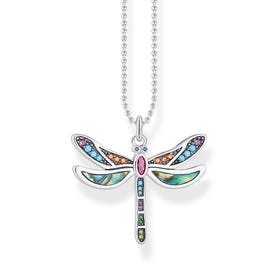 Silver Colourful Dragonfly Necklace