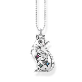 Silver Colourful Constellation Cat Necklace