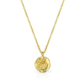 Desert Gold Plated Silver Textured Spiral Disc Necklace