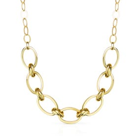 Cane Gold Plated Silver Large Oval & Double Link Necklace