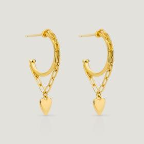 Love Gold Plated Silver Heart Chain Hoop Earrings