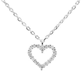 Silver White Heart Necklace