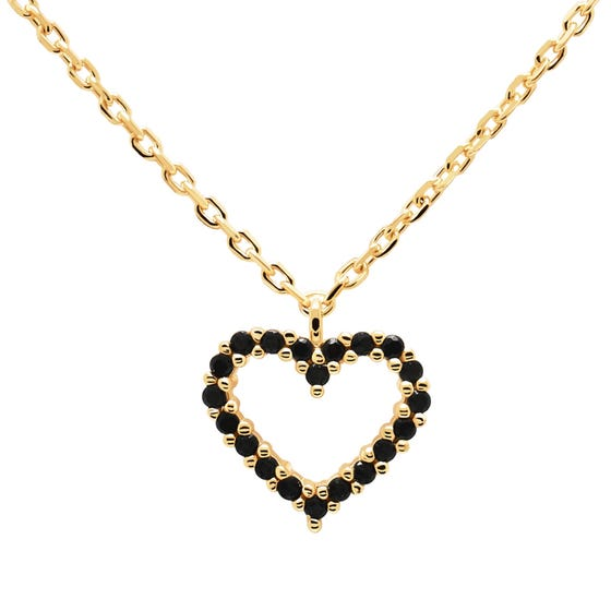 Gold Plated Black Heart Necklace