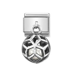 Classic Silver Rhombus with White Pearl Pendant Charm