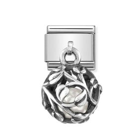 Classic Silver Leaf with White Pearl Pendant Charm