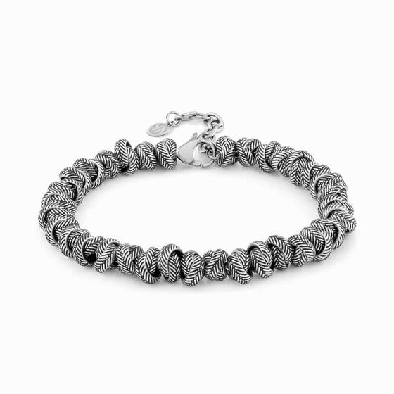 Instinct Vulcano Antiqued Steel Intertwined Rings Bracelet