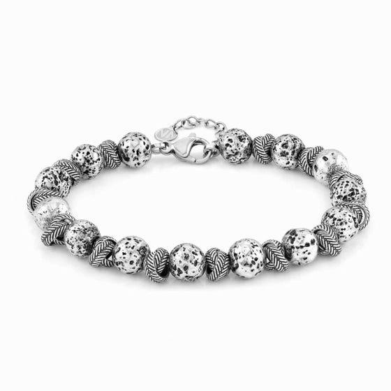 Instinct Vulcano Antiqued Steel Intertwined Rings & Lava Bracelet