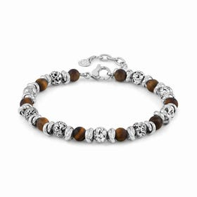 Instinct Vulcano Stainless Steel Tiger's Eye Bracelet