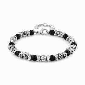 Instinct Vulcano Stainless Steel Onyx Bracelet