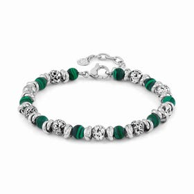 Instinct Vulcano Stainless Steel Green Malachite Bracelet