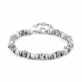 Instinct Vulcano Stainless Steel White Howlite Bracelet