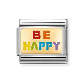 Classic Gold Be Happy Rainbow Charm