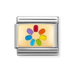 Classic Gold Rainbow Flower Charm