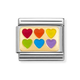 Classic Gold Rainbow Hearts Charm