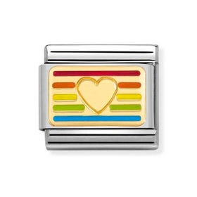 Classic Gold Rainbow Flag Heart Charm