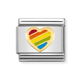 Classic Gold Heart Rainbow Charm