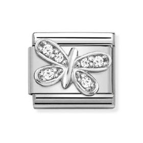 Classic Silver & CZ Butterfly Charm