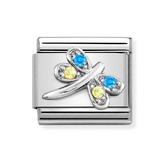 Classic Silver Blue & Yellow Dragonfly Charm