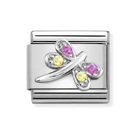 Classic Silver Lilac & Yellow Dragonfly Charm